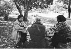 Social worker Eva Ahmed with two homeless men, sitting at a picnic table, under a tree in a park.